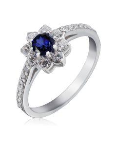 Золотое кольцо цветок с сапфиром «Bloom»