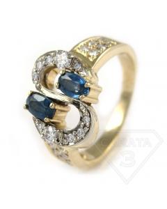 Золоте кільце з сапфіром і діамантом «Долар»