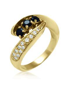 Золоте кільце з сапфіром і діамантом «Ракушка»