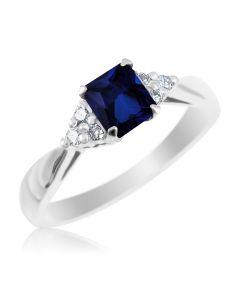 Золоте кільце з квадратним сапфіром і діамантами «Ікона стилю»