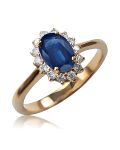 Золотое кольцо с сапфиром и бриллиантами «Ноктюрн»