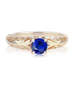 Ажурное золотое кольцо с гидротермальным сапфиром «Vintage»