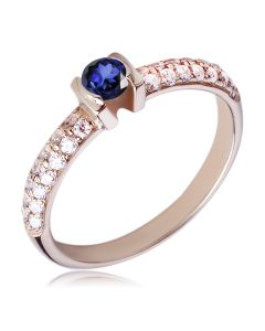 Золотое кольцо с сапфиром в обсыпке «El comienzo»