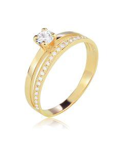 Кольцо золотое два в одном с Сваровски «Jamelia»