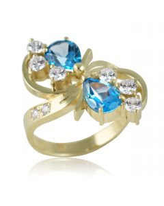 Золоте кільце з топазами «Краплі»
