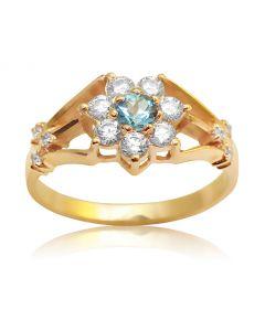 Кольцо цветок с топазом и Сваровски в золоте «Belle fleur»
