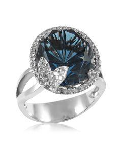 Крупное женское кольцо с топазом«Летняя ночь»
