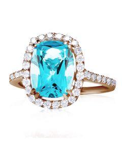 Золота каблучка з топазом та діамантами «Аделаїда»