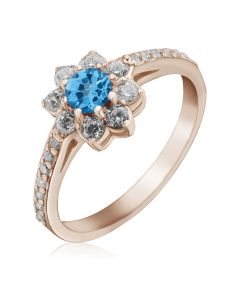 Золотое кольцо цветок с топазом «Bloom»