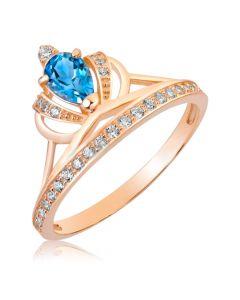 Золотое кольцо корона с топазом «Королевское»