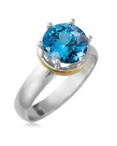 Золотое кольцо на помолвку с топазом 2,4 Ct «Дамиано»