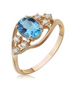 Золотое кольцо с топазом и цирконием «Воздушный поцелуй»