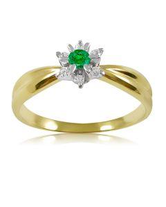 Золота каблучка з зеленим гранатом і діамантами «Франсуаза»