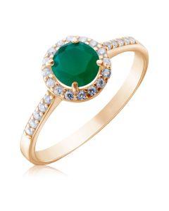 Золотое кольцо с зеленым агатом «Алеся»