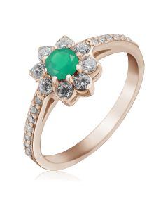 Золотое кольцо цветок с зеленым агатом «Bloom»