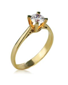 Золота каблучка для заручин з великим фіанітом «Еліс»