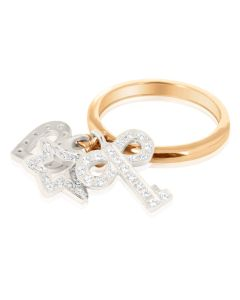 Золоте кільце з підвісками і цирконієм Сваровські «Три бажання»