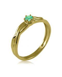 Золотое переплетенное кольцо с изумрудом «Долина грез»