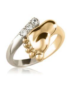 Золотое колечко с цирконием «Ножка малютки»