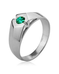 Золотий чоловічий перстень «Магічний смарагд»