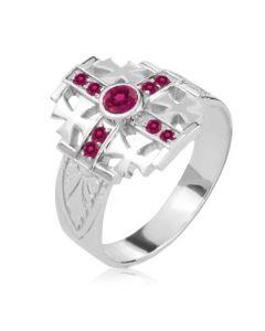 Золотой перстень с рубином «Мальтийский Крест»