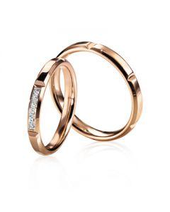 Парные обручальные кольца с бриллиантами «Champagne»