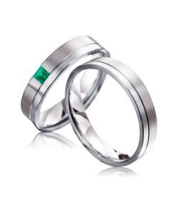 Парные обручальные кольца с изумрудом «Стильные»