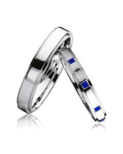Золотые обручальные кольца парные с сапфирами «Франция»