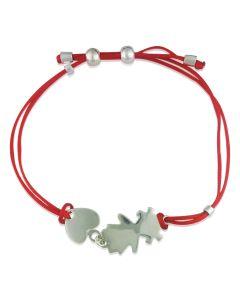 Золотой браслет для мамы «Девочка с сердечком» с красной нитью