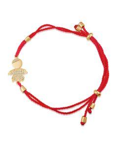 Браслет с ребенком из золота с красной ниткой