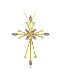 Золотой крестик с цветными цирконами