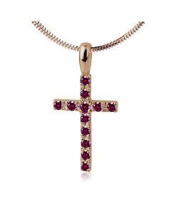 Кулон крестик среднего размера с рубинами