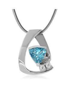 Кулон з топазом трильйон і двома діамантами «Leighton»