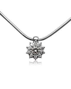 Золотой кулон - цветок с бриллиантами «Снежинка»