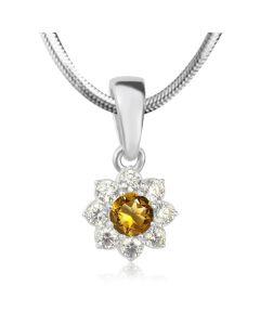 Золотой кулон цветок с цитрином «Bloom»
