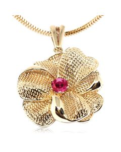 Золотой кулон - цветок с рубином «Мирабилис»