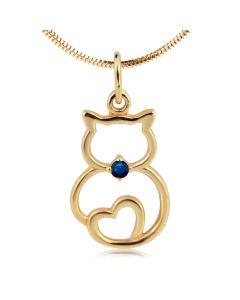 Золотой кулончик «Кот и сердце» с сапфиром