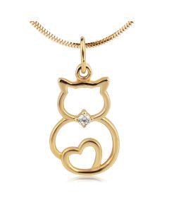 Золотой кулон «Кот и сердце» с фианитом