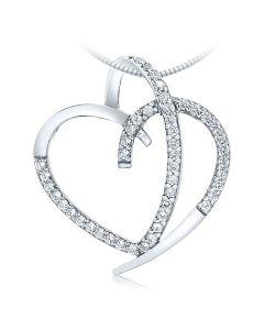 Золотой кулон с бриллиантами «Лебединая верность»