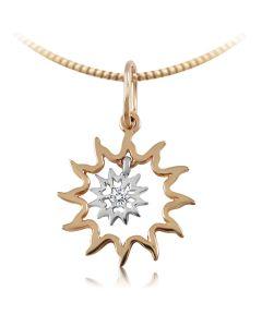 Золотой кулон оберег с бриллиантом «Солнце»