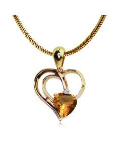 Золота підвіска серце з цитрином «Серце Заходу»