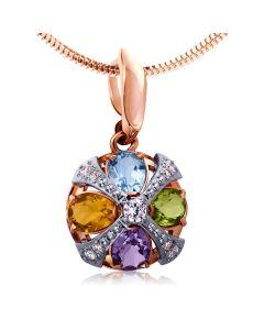Золотой кулон с цветными камнями