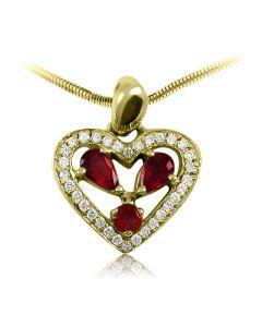 Золотой кулон сердце с гранатами «Сердечко мое»