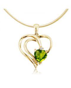 Золота підвіска з хризолітом «Серце Землі»
