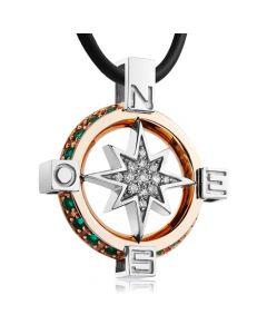 Золотий кулон з діамантами і смарагдами «Роза вітрів»