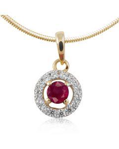 Круглый золотой кулон с рубином «Валенсия»