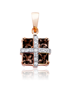 Золотий кулон з раухтопазами «Свято»