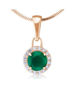 Золотий кулон з зеленим агатом «Алеся»