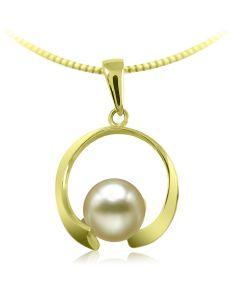 Золотой кулон с жемчугом и цирконием «Пробуждение»
