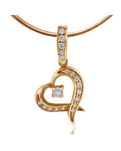 Кулон с сердечком и бриллиантами «Мелодия сердца»